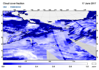 OMI - Cloud cover fraction of 17 June 2017