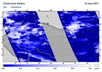 OMI - Cloud cover fraction of 18 June 2017