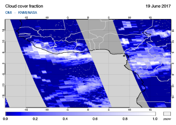 OMI - Cloud cover fraction of 19 June 2017