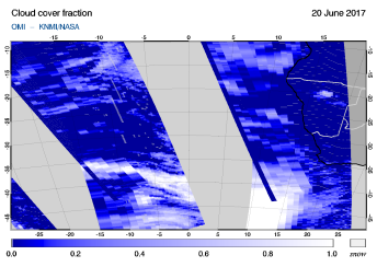 OMI - Cloud cover fraction of 20 June 2017