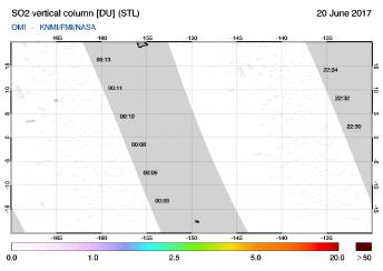 OMI - SO2 vertical column of 20 June 2017