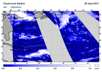 OMI - Cloud cover fraction of 29 June 2017