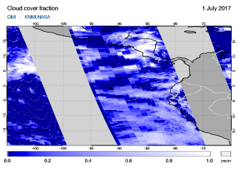 OMI - Cloud cover fraction of 01 July 2017