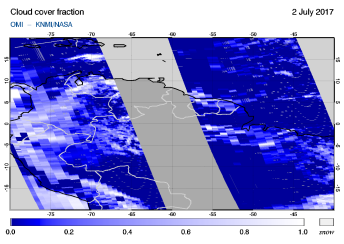 OMI - Cloud cover fraction of 02 July 2017