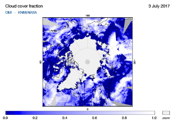 OMI - Cloud cover fraction of 03 July 2017