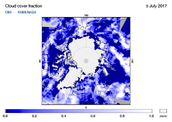 OMI - Cloud cover fraction of 05 July 2017