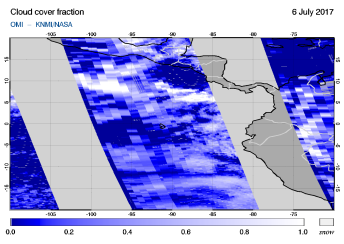 OMI - Cloud cover fraction of 06 July 2017