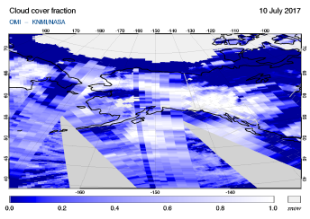 OMI - Cloud cover fraction of 10 July 2017
