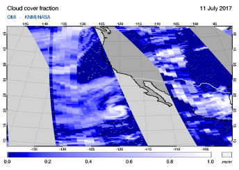 OMI - Cloud cover fraction of 11 July 2017