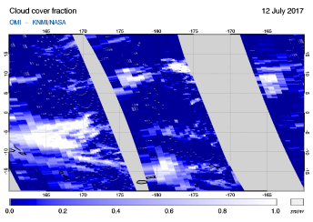 OMI - Cloud cover fraction of 12 July 2017