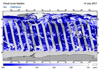 OMI - Cloud cover fraction of 14 July 2017