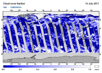 OMI - Cloud cover fraction of 15 July 2017