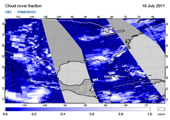 OMI - Cloud cover fraction of 16 July 2017