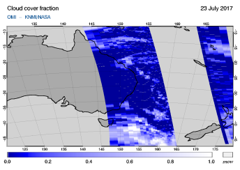 OMI - Cloud cover fraction of 23 July 2017