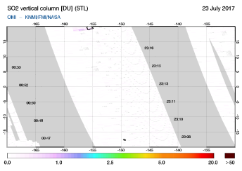 OMI - SO2 vertical column of 23 July 2017