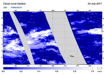 OMI - Cloud cover fraction of 24 July 2017