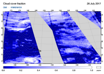 OMI - Cloud cover fraction of 26 July 2017