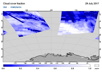 OMI - Cloud cover fraction of 29 July 2017