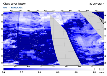 OMI - Cloud cover fraction of 30 July 2017