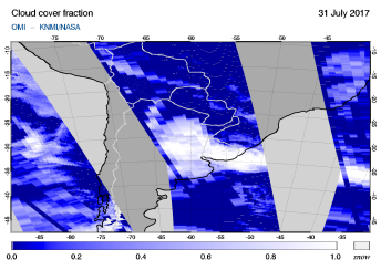 OMI - Cloud cover fraction of 31 July 2017
