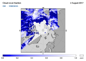 OMI - Cloud cover fraction of 02 August 2017