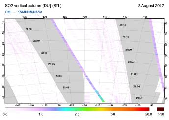 OMI - SO2 vertical column of 03 August 2017