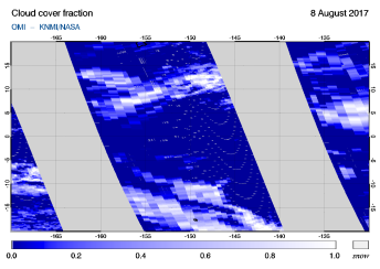OMI - Cloud cover fraction of 08 August 2017