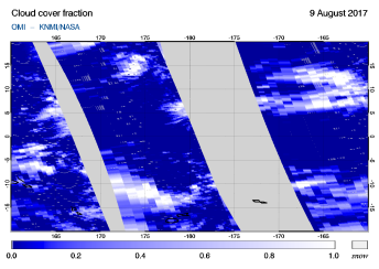 OMI - Cloud cover fraction of 09 August 2017