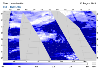 OMI - Cloud cover fraction of 10 August 2017