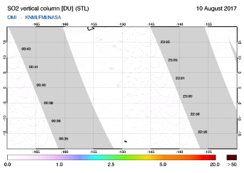 OMI - SO2 vertical column of 10 August 2017