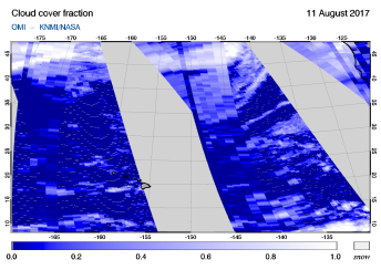 OMI - Cloud cover fraction of 11 August 2017