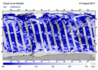 OMI - Cloud cover fraction of 14 August 2017