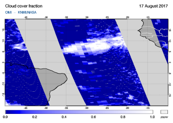 OMI - Cloud cover fraction of 17 August 2017