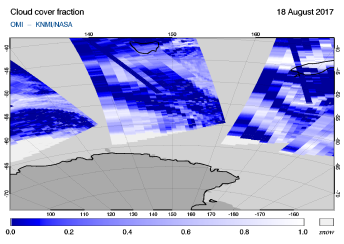 OMI - Cloud cover fraction of 18 August 2017