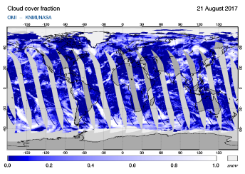 OMI - Cloud cover fraction of 21 August 2017