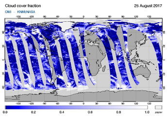 OMI - Cloud cover fraction of 25 August 2017