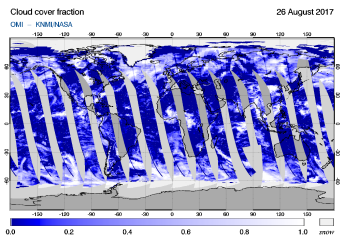 OMI - Cloud cover fraction of 26 August 2017