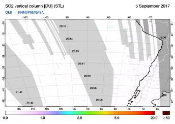 OMI - SO2 vertical column of 05 September 2017