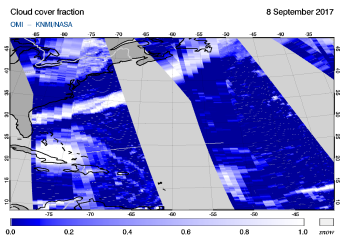 OMI - Cloud cover fraction of 08 September 2017