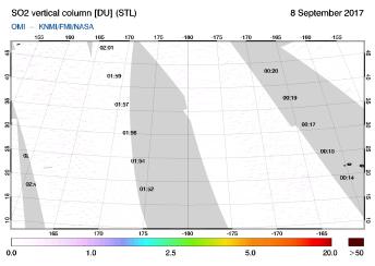 OMI - SO2 vertical column of 08 September 2017