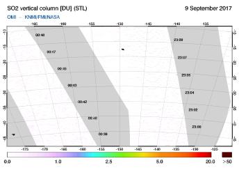 OMI - SO2 vertical column of 09 September 2017