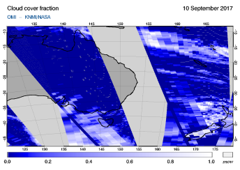 OMI - Cloud cover fraction of 10 September 2017