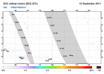 OMI - SO2 vertical column of 10 September 2017