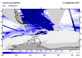 OMI - Cloud cover fraction of 11 September 2017