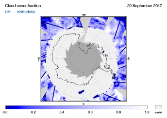 OMI - Cloud cover fraction of 20 September 2017