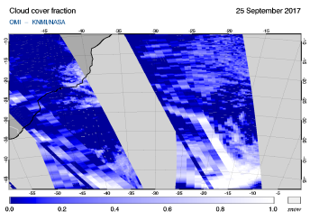 OMI - Cloud cover fraction of 25 September 2017