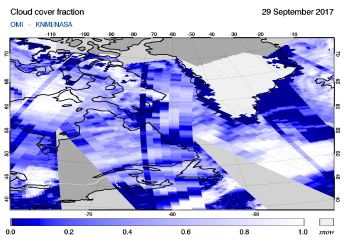 OMI - Cloud cover fraction of 29 September 2017