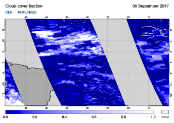 OMI - Cloud cover fraction of 30 September 2017