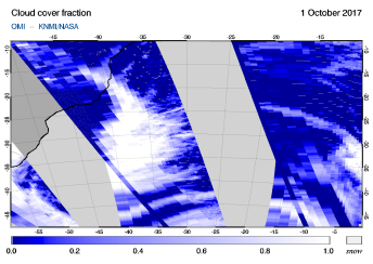 OMI - Cloud cover fraction of 01 October 2017