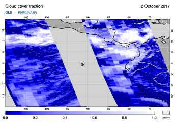 OMI - Cloud cover fraction of 02 October 2017